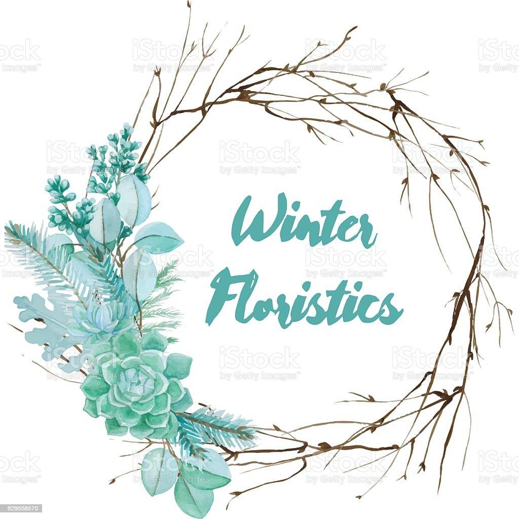 Vector Watercolor Floristic Composition vector art illustration