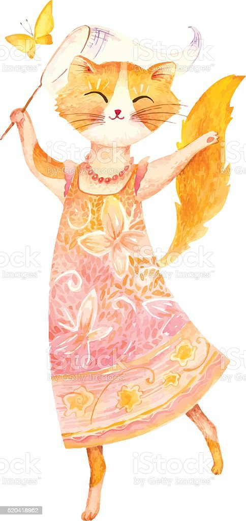 Vector Watercolor Illustration. Happy ginger cat dancing vector art illustration