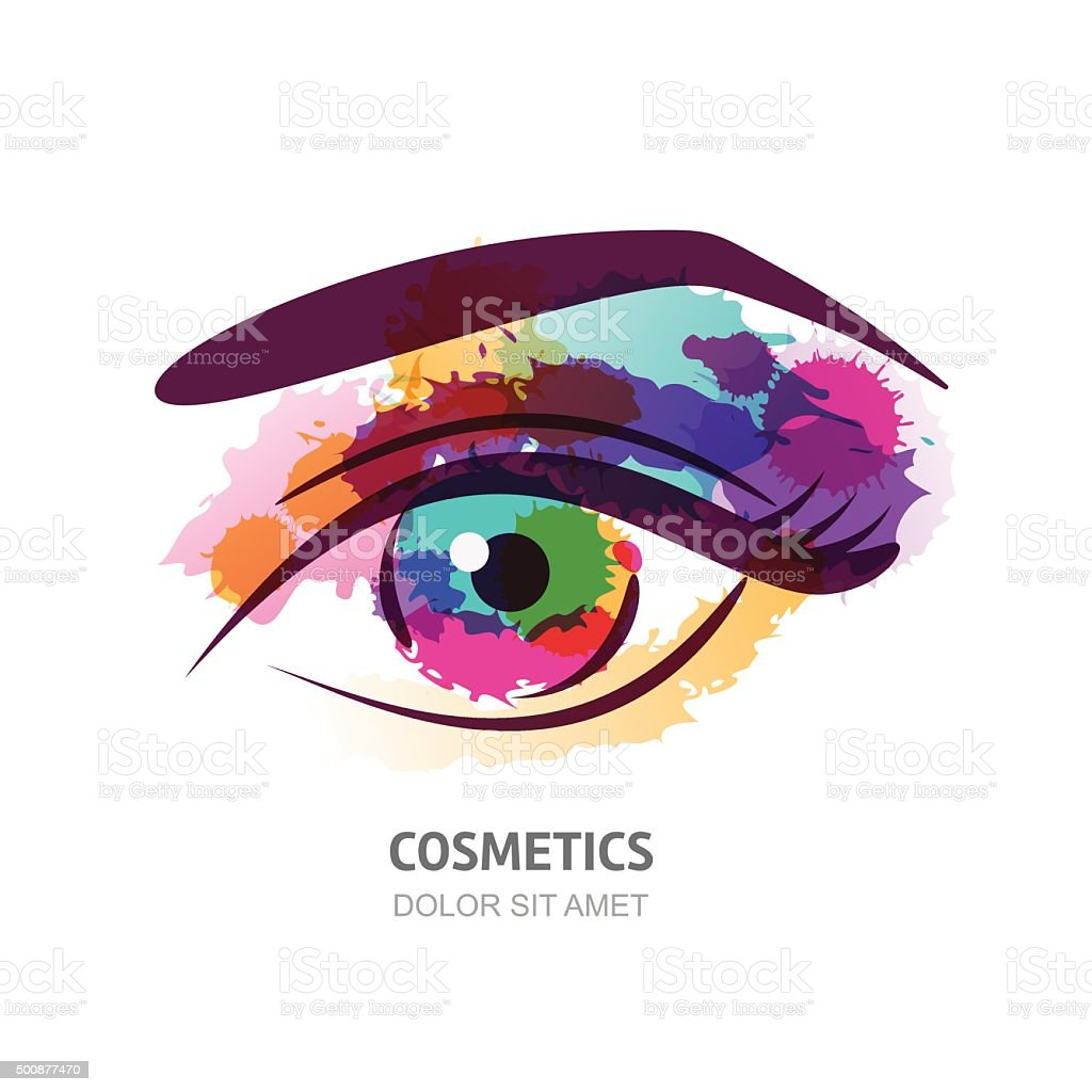 Vector watercolor illustration of the eye with colorful pupil. vector art illustration
