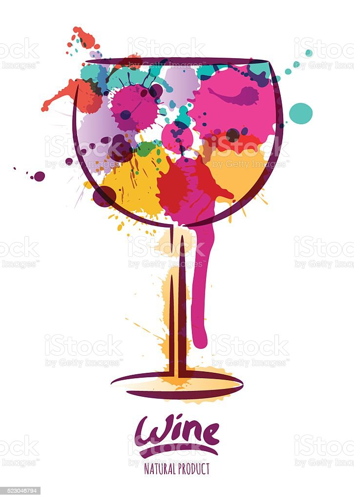 Vector watercolor illustration of wine glass and hand drawn lettering. vector art illustration