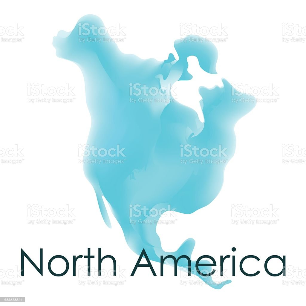 Vector Watercolor Map Of North America On A White Background Stock - Map of north america activity