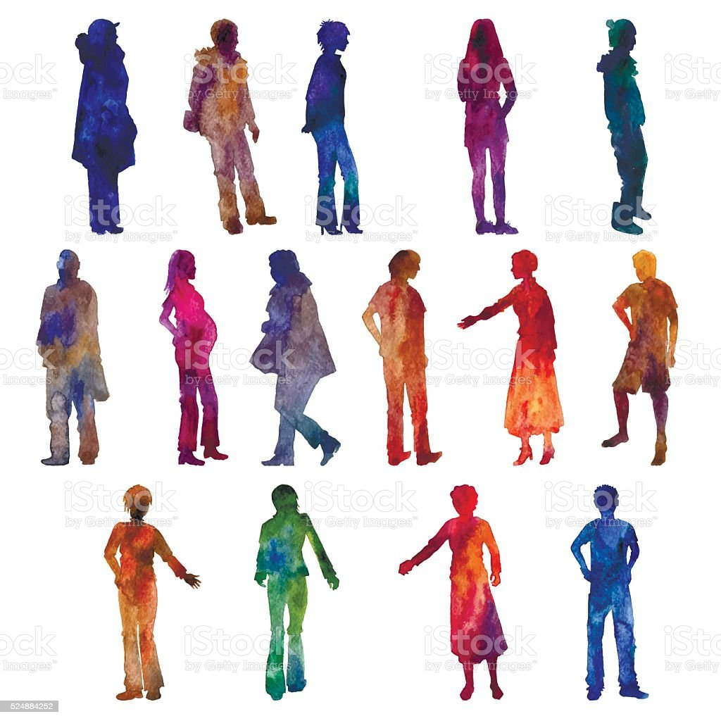 vector watercolor people silhouettes vector art illustration