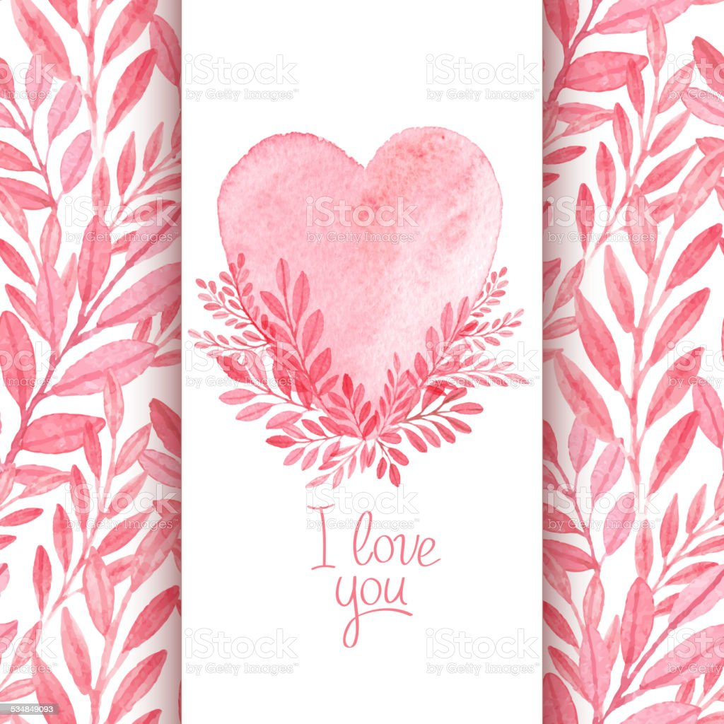 Vector Watercolor Postcard Valentines Day Seamless Pattern stock – Valentines Day Post Card