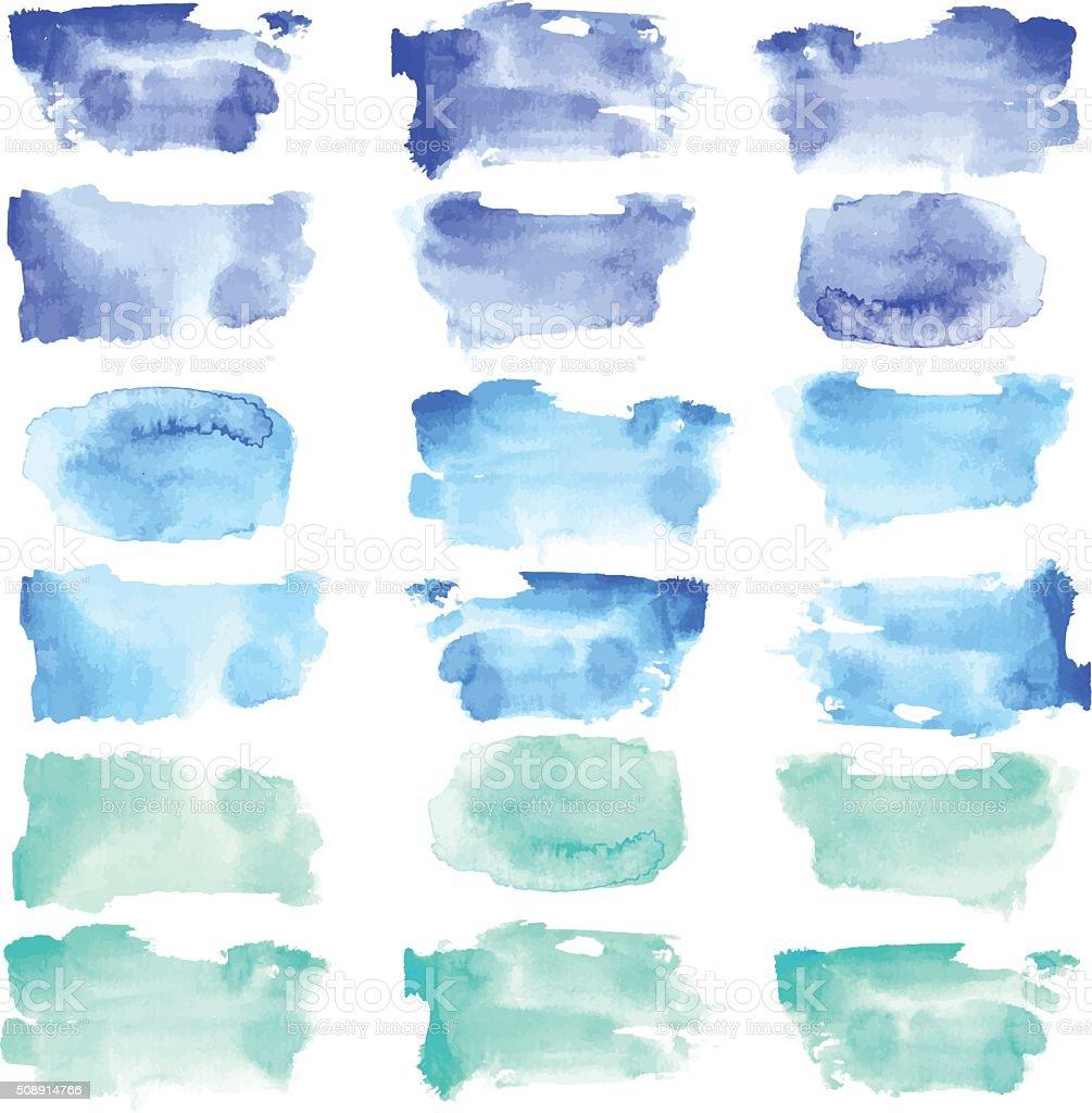 Vector watercolor rough stain set vector art illustration