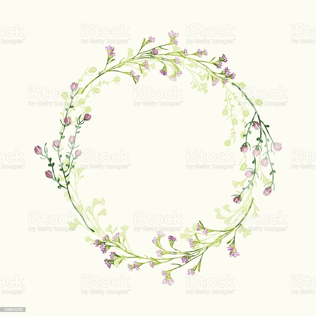 Vector watercolor round floral frame. Hand draw herbal border vector art illustration
