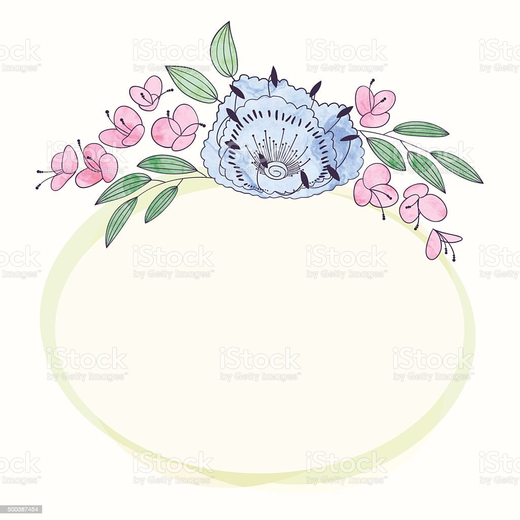 Oriental round white frame with arabesques and floral ...