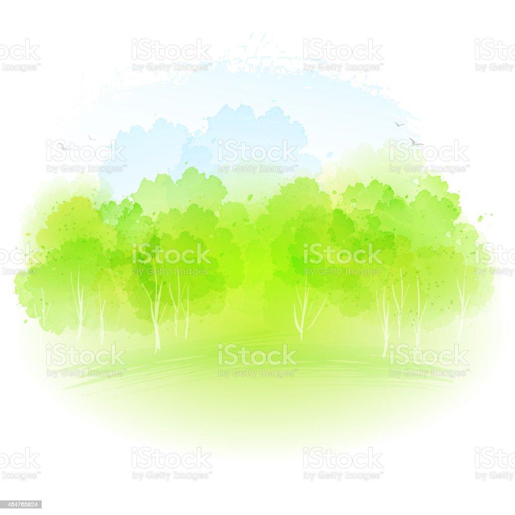 Vector watercolor spring landscape vector art illustration