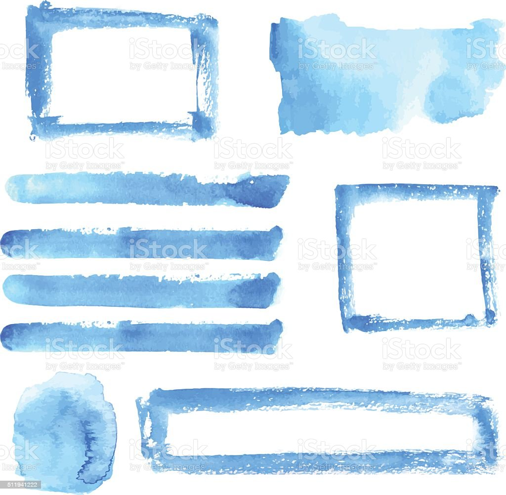 Vector watercolor stain, frame and stripe set vector art illustration