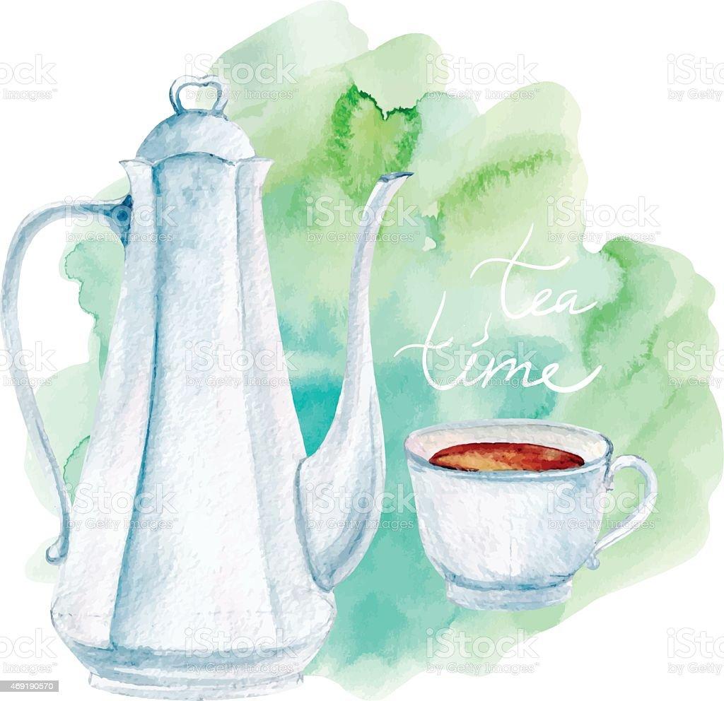 vector watercolor tea service vector art illustration