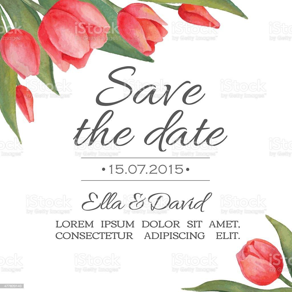Vector watercolor wedding invitation card with tulips. vector art illustration