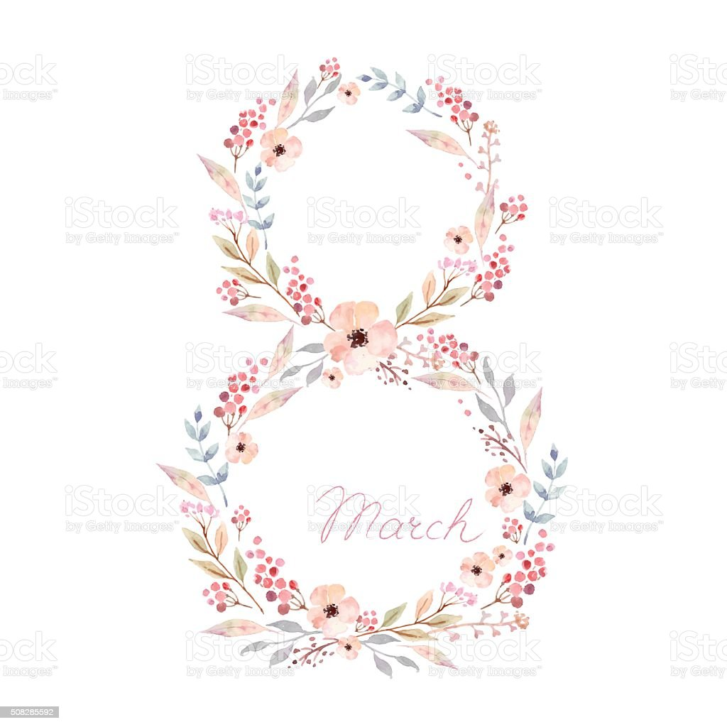 Vector watercolor women day card. Floral design. vector art illustration