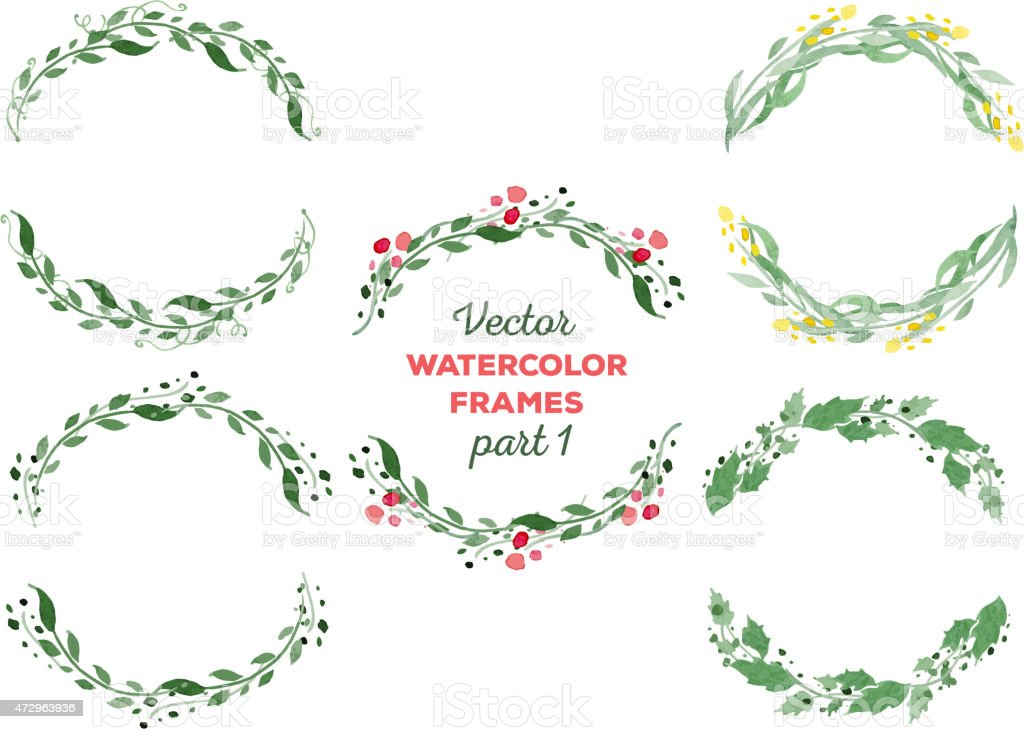 Vector watercolor wreaths and separate floral elements for custo vector art illustration