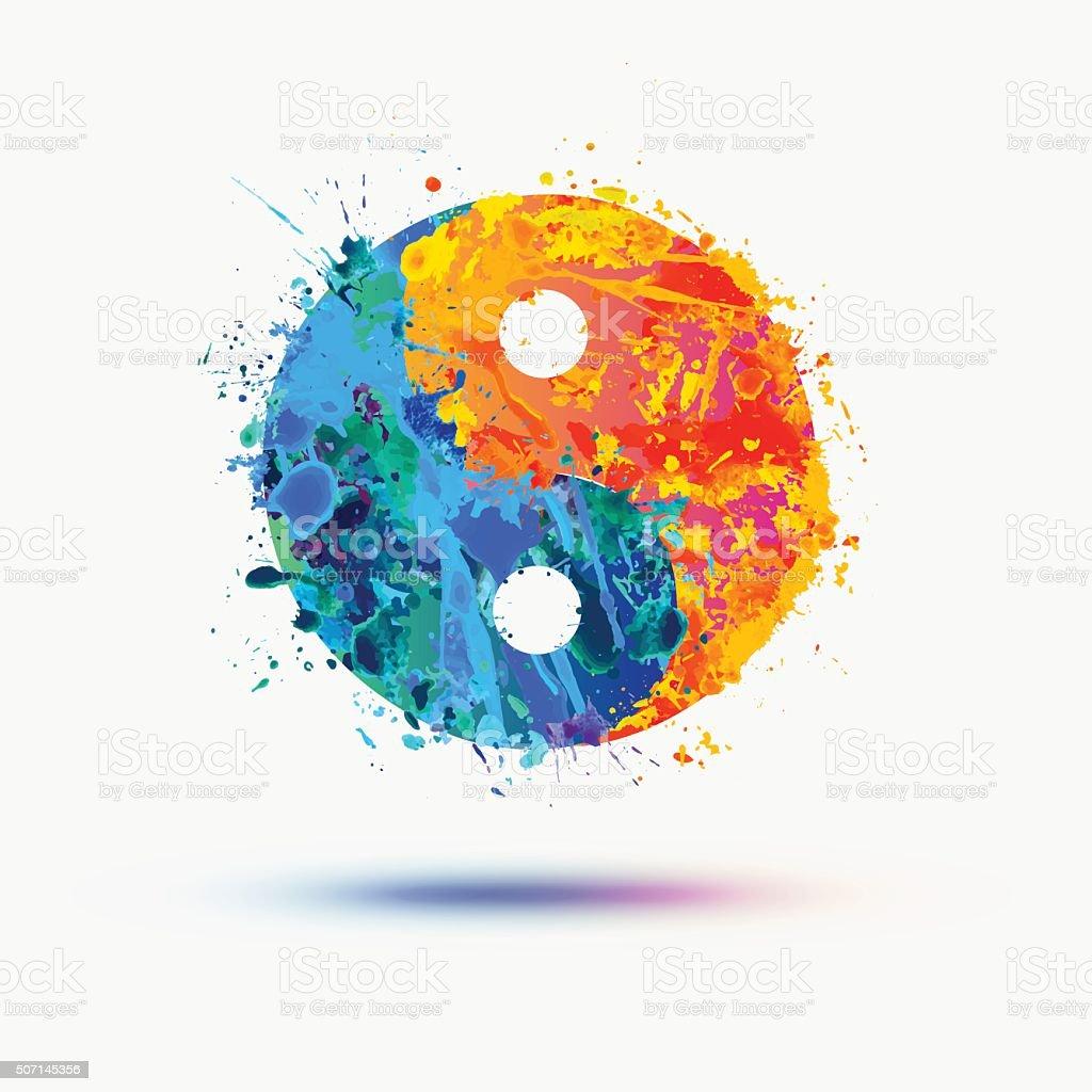 Vector watercolor. Ying yang symbol (harmony and balance) vector art illustration