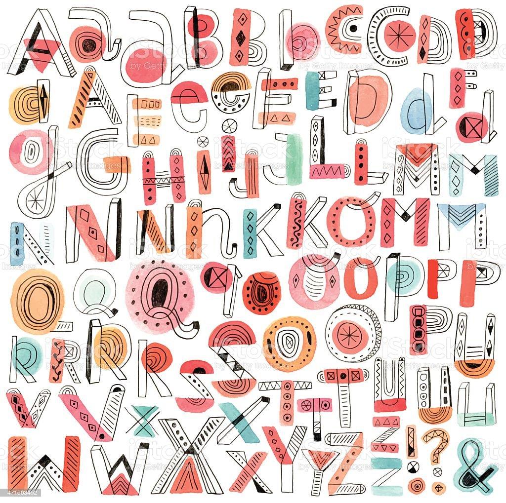 Vector watercolour and pencil doodle alphabet vector art illustration