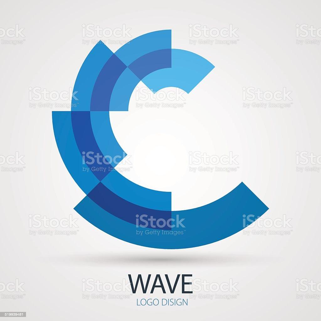 Vector wave company logo design, business symbol concept vector art illustration