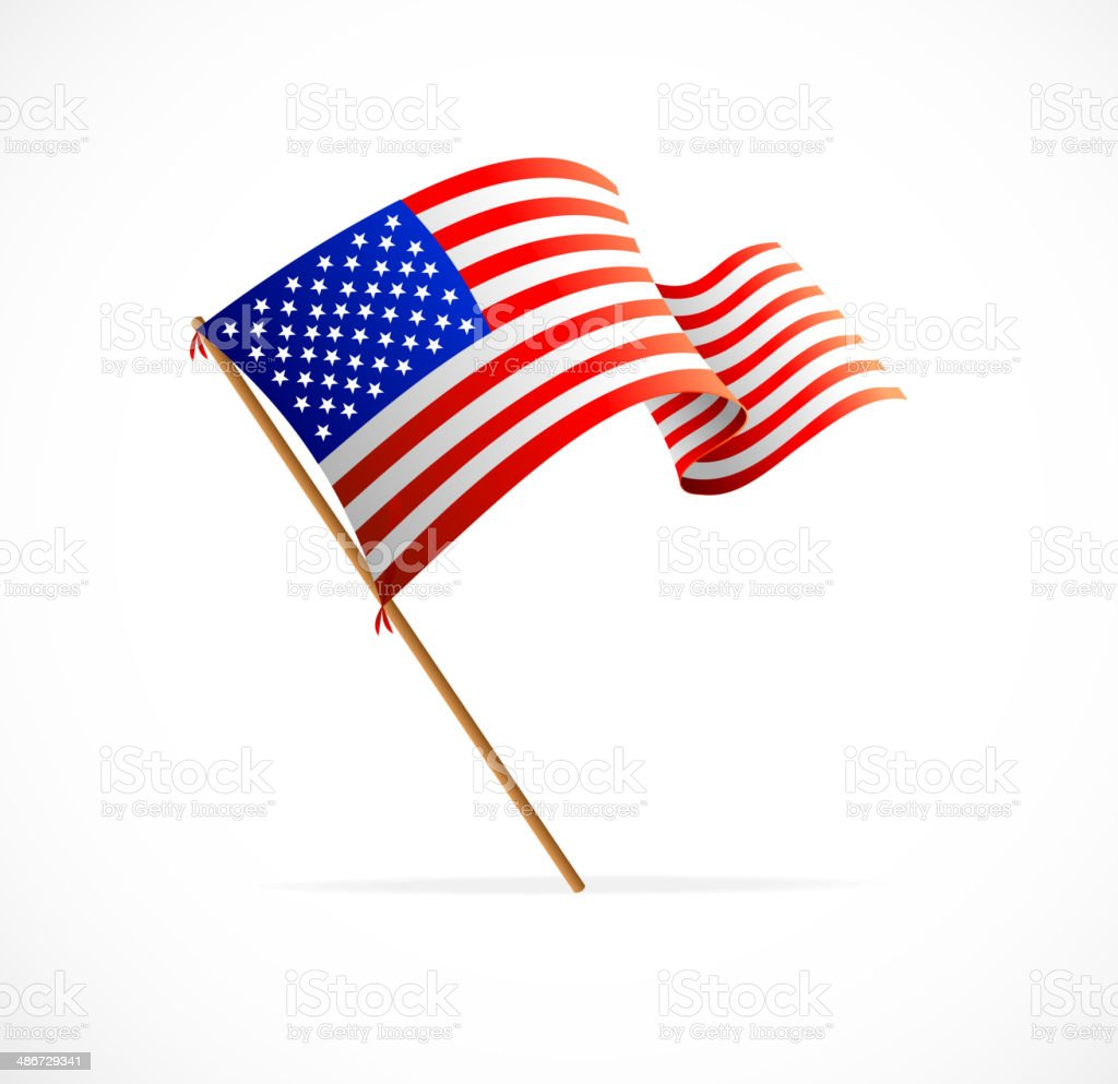 Vector waving American Flag (Flag of USA) vector art illustration