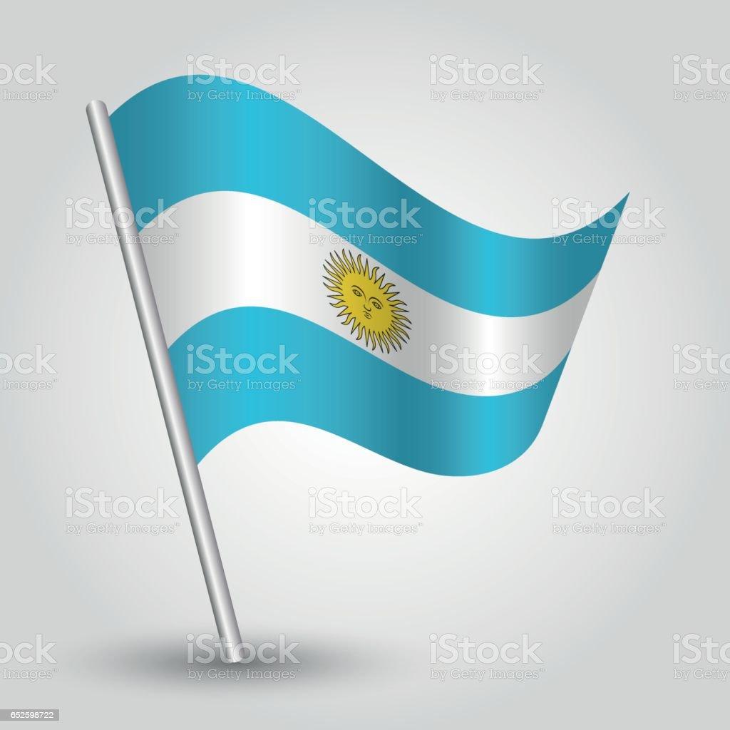 vector waving simple triangle argentine flag on slanted silver pole vector art illustration