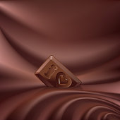 Vector wavy choco background melted chocolate