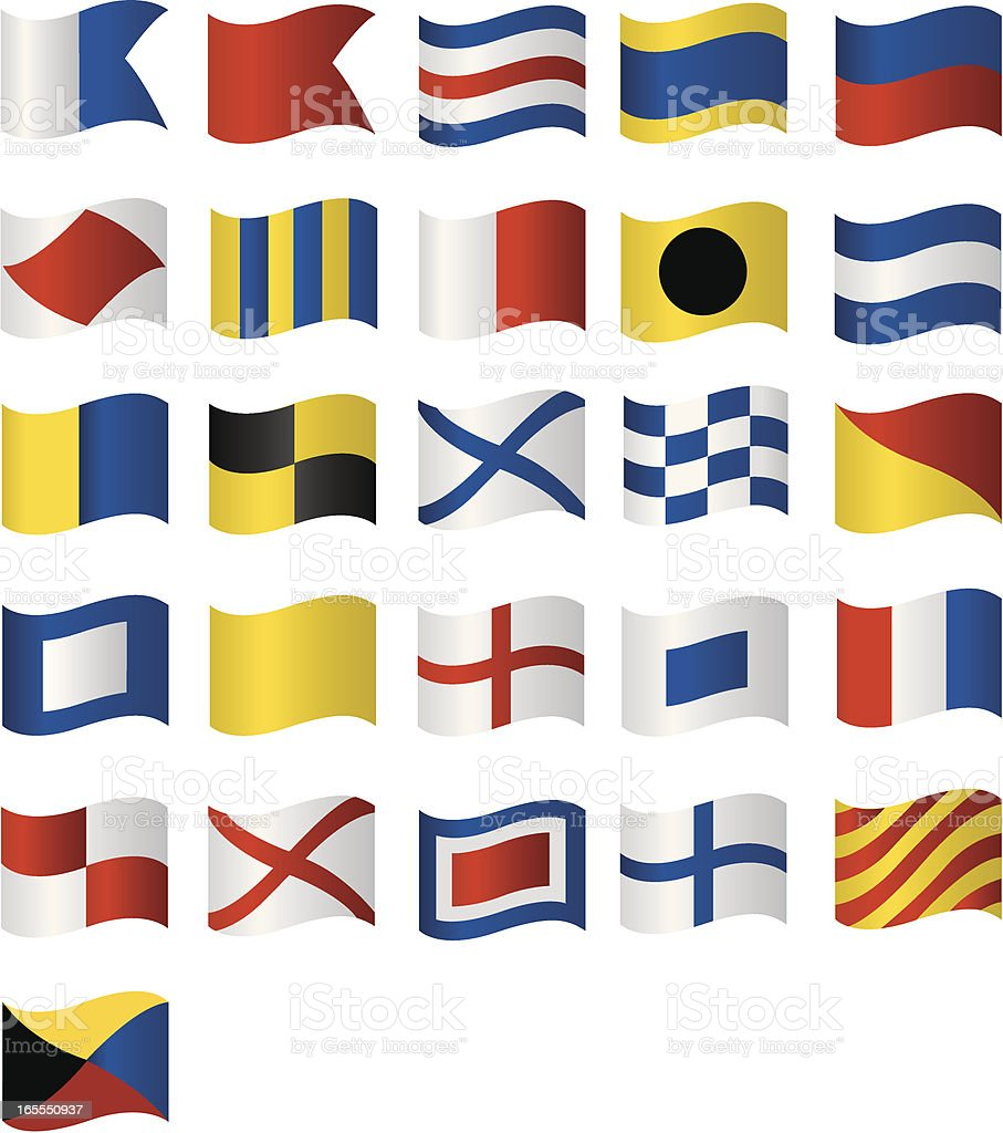 Vector Wavy Nautical Flags royalty-free stock vector art