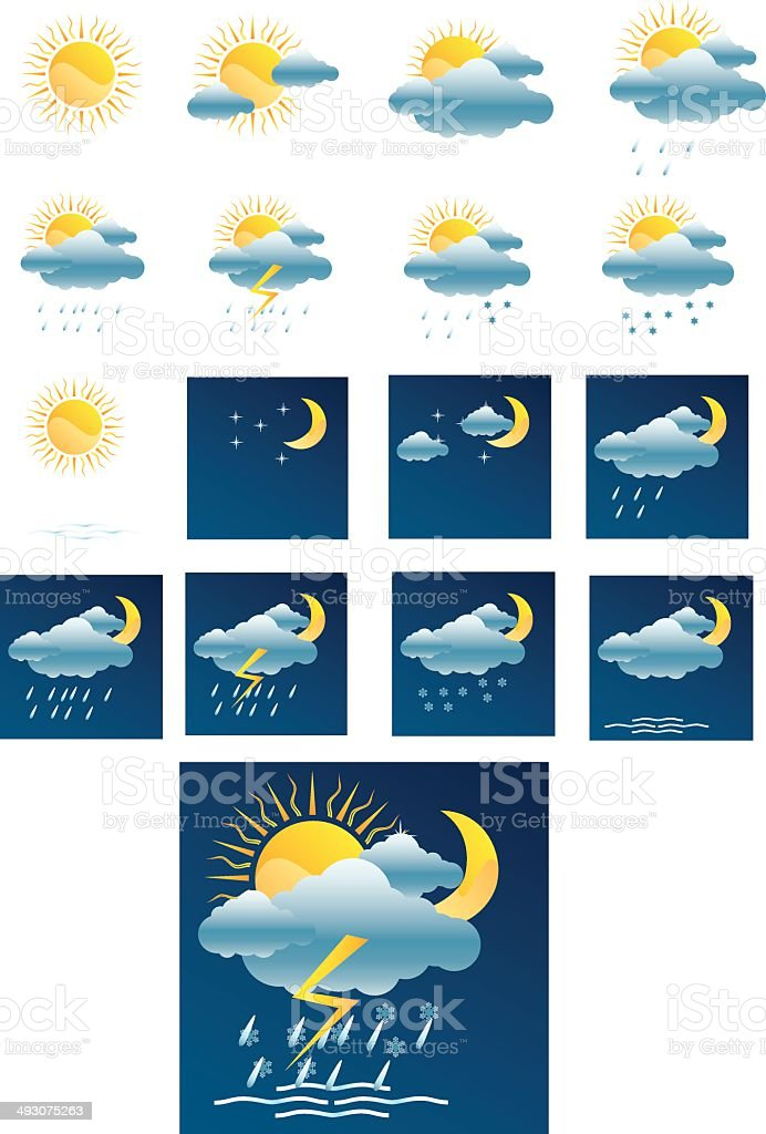 Vector weather forecast icons + All separate vector art illustration