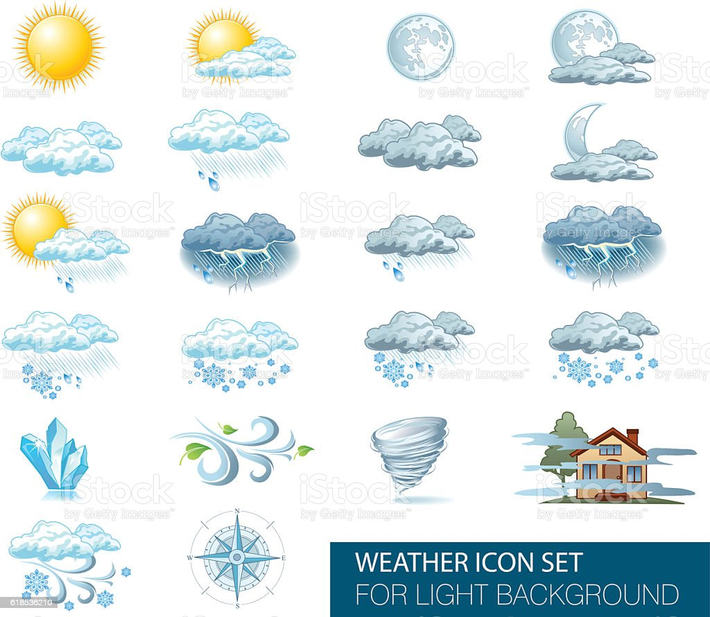 Vector weather forecast icons with light background vector art illustration