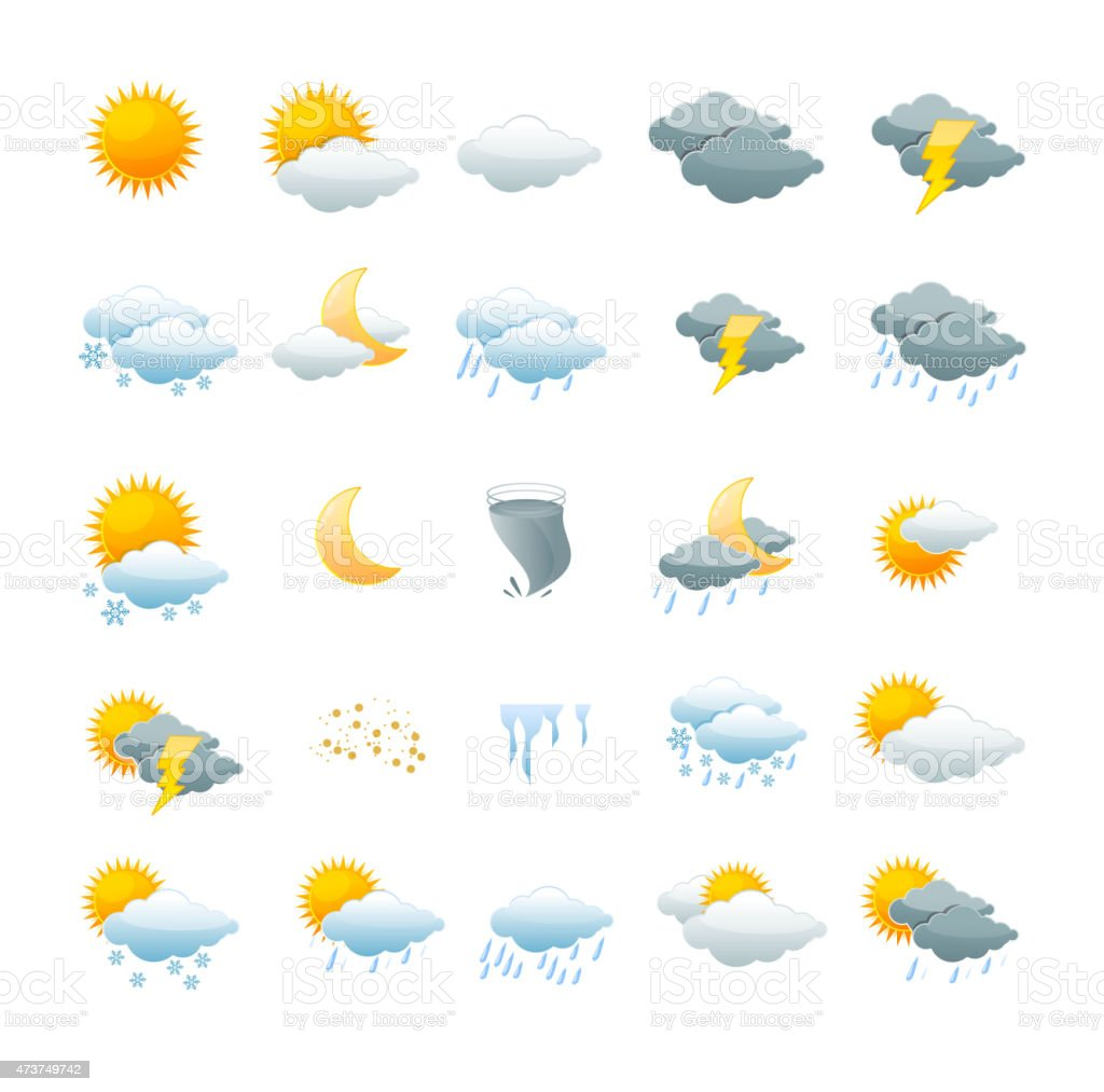 Vector weather icon set vector art illustration
