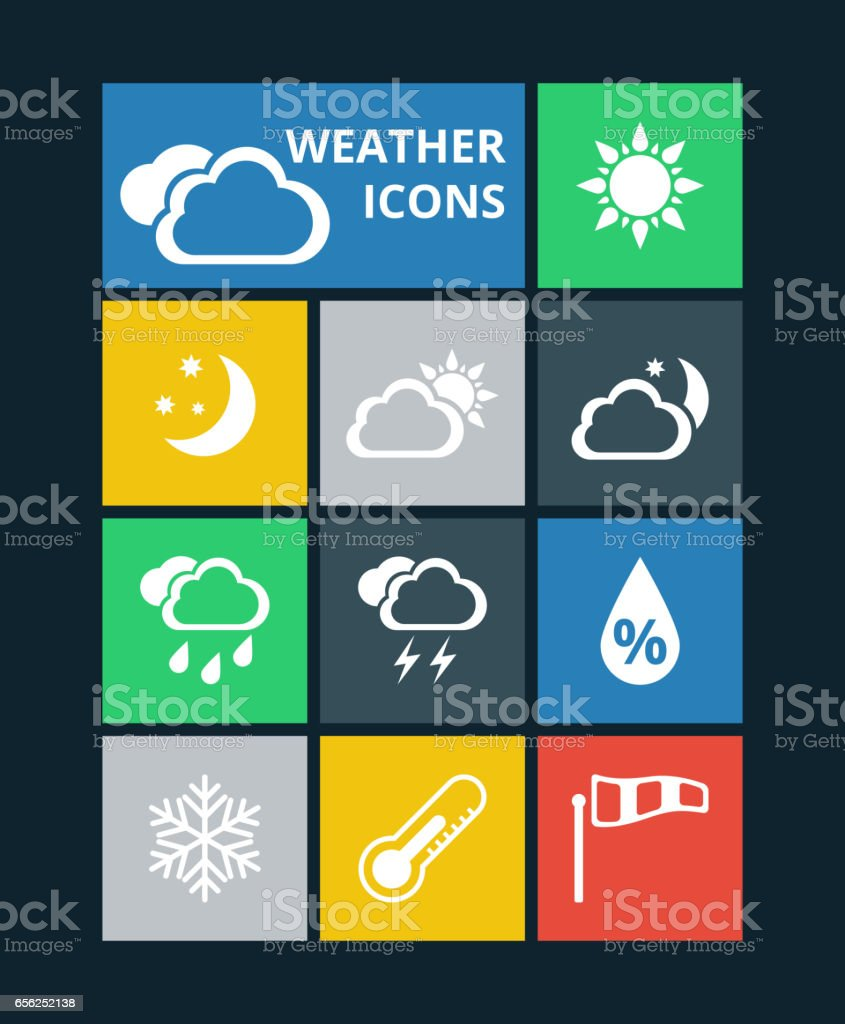 Vector weather icons set vector art illustration