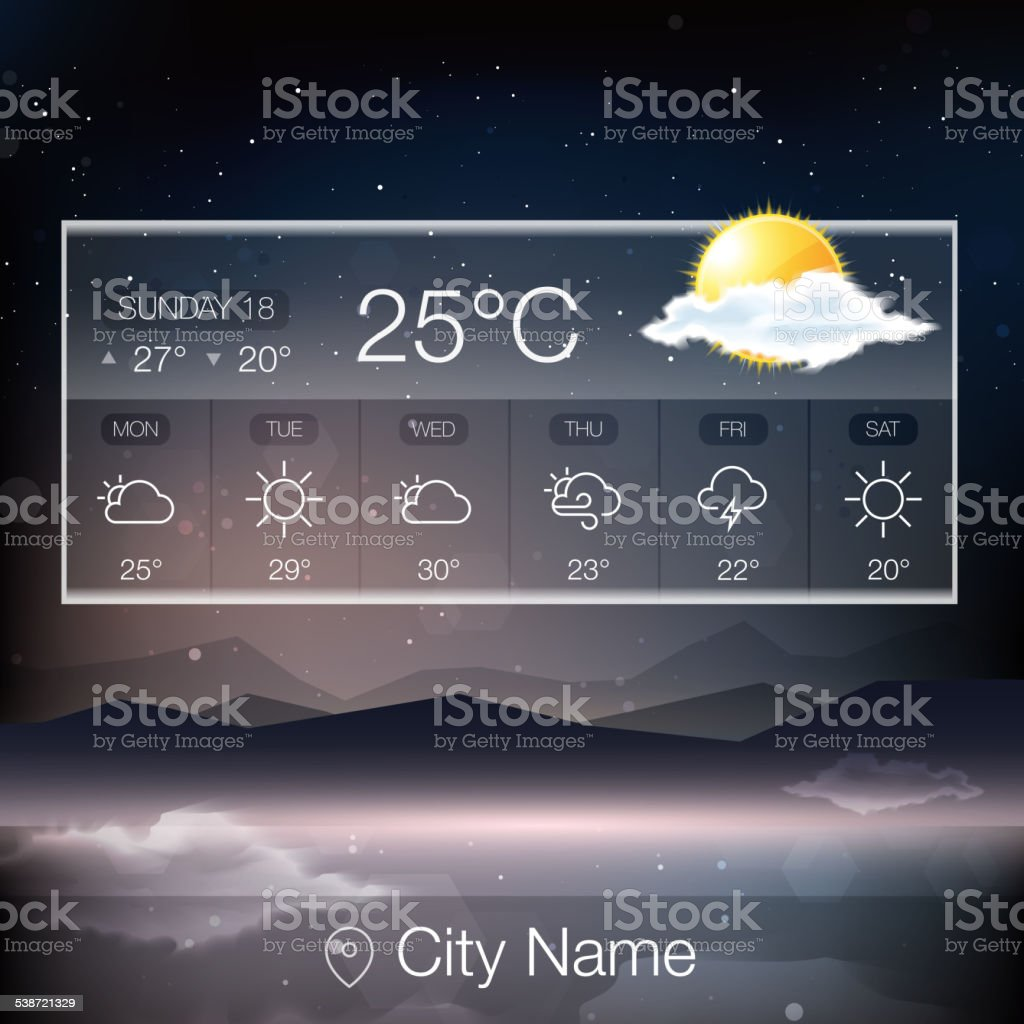 Vector Weather Widget vector art illustration