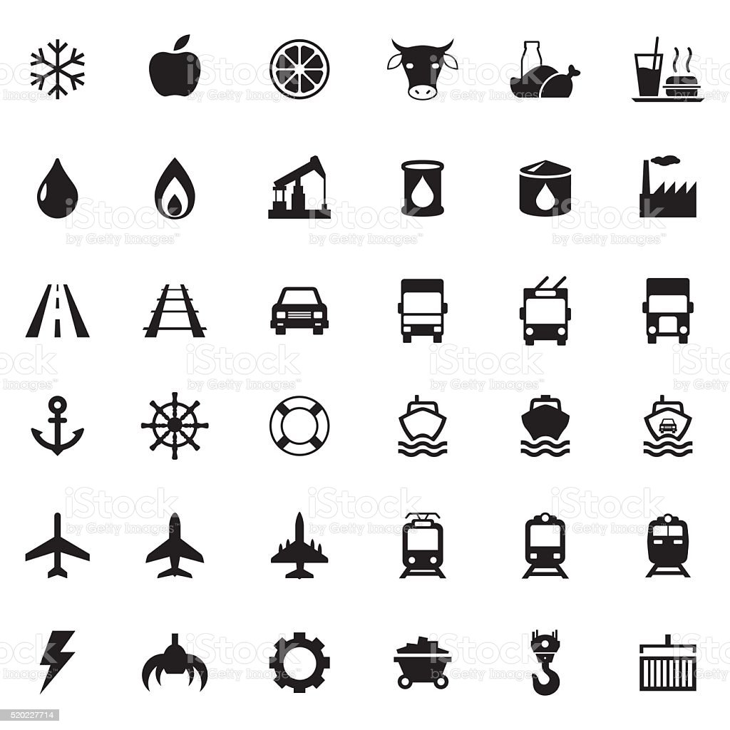 Vector web icons, transport, industrial icons set vector art illustration