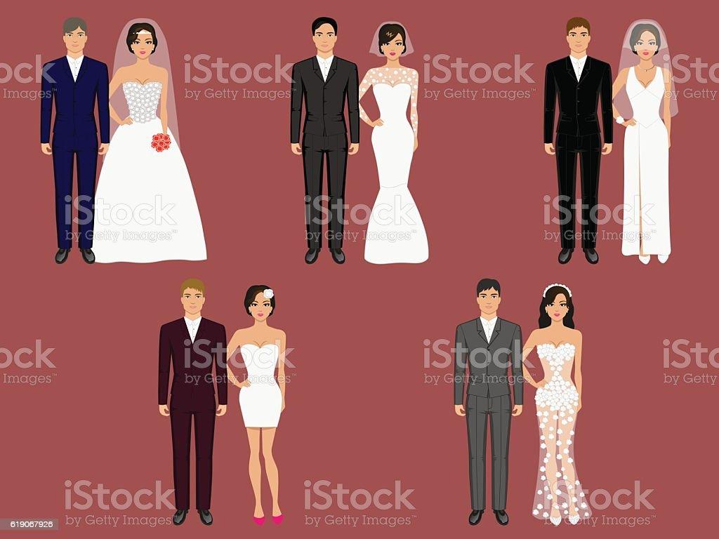Vector wedding apparel, garment different costumes vector art illustration