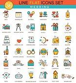 Vector Wedding flat line icon set. Modern elegant style design
