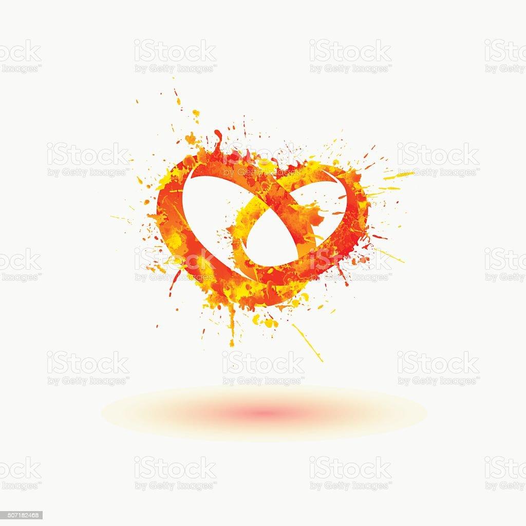 Vector wedding rings. Paint splash vector art illustration