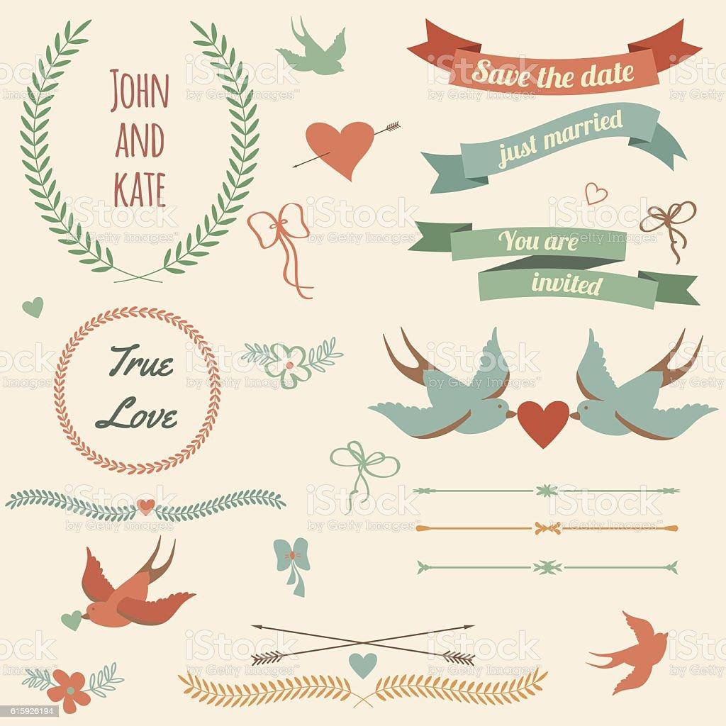 Vector wedding set with birds, hearts, arrows, ribbons, wreaths, vector art illustration