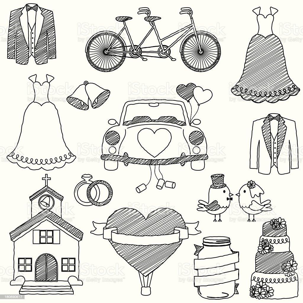 Vector Wedding Themed Doodles vector art illustration