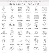 Vector wedding ultra modern outline line icons for web and