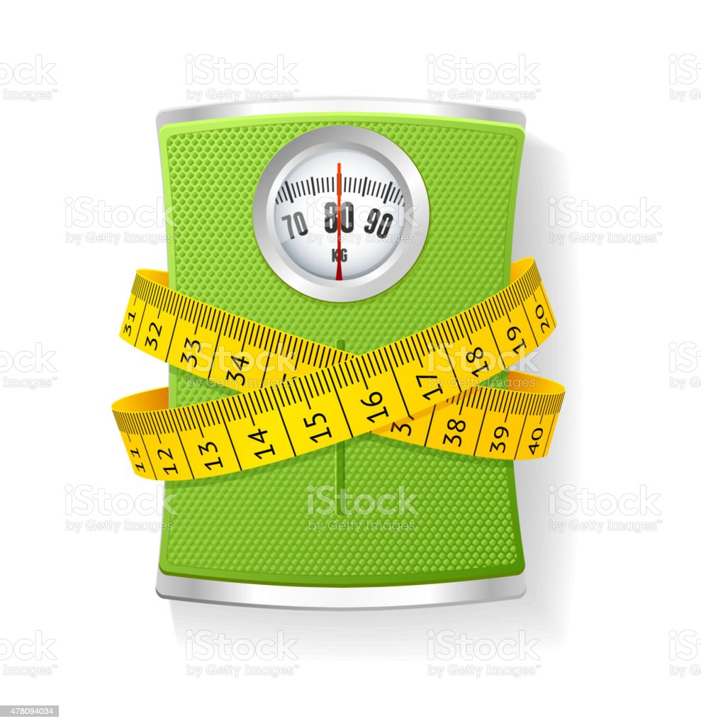 Vector Weights and tape measure vector art illustration