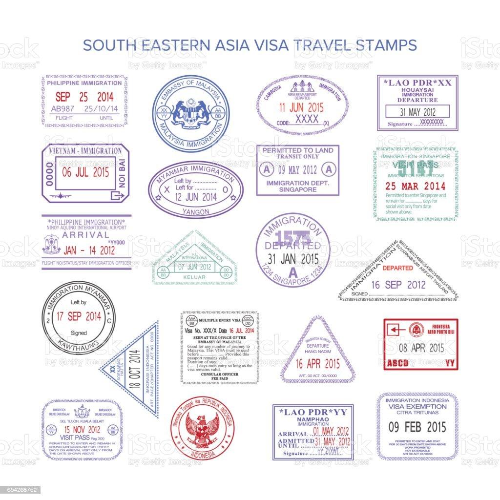 Vector western europe color travel visa stamps set vector art illustration