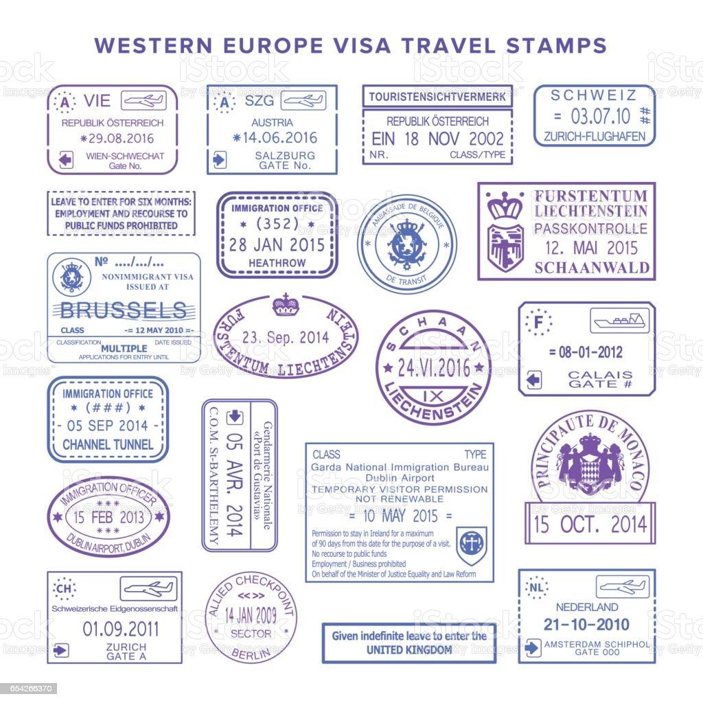 Vector western europe common travel visa stamps set vector art illustration