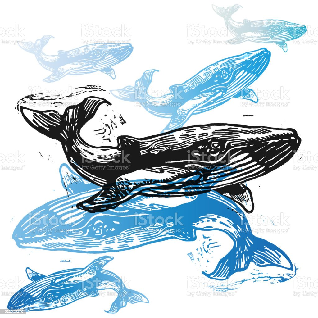 Vector Whale animals in abstract composition. vector art illustration