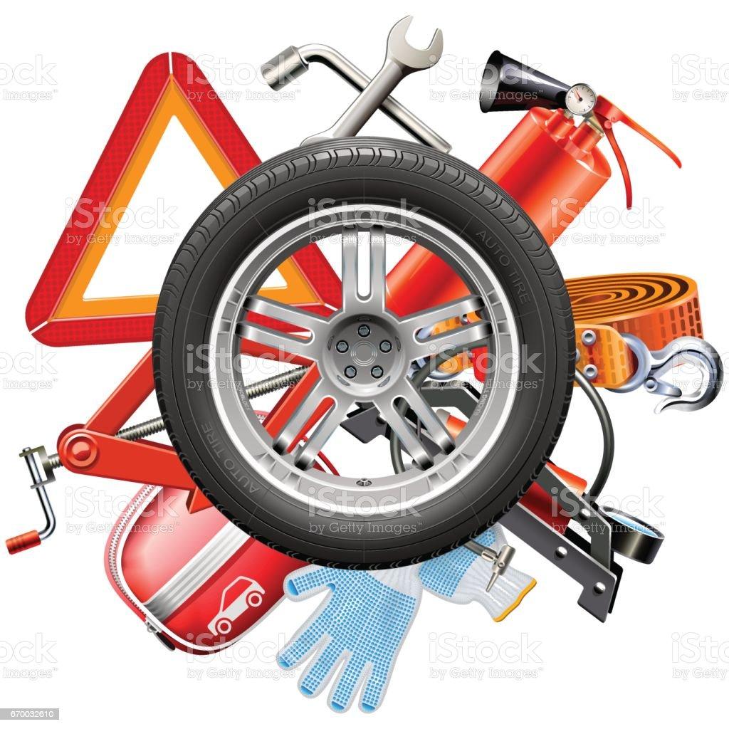 Vector Wheel with Car Accessories vector art illustration