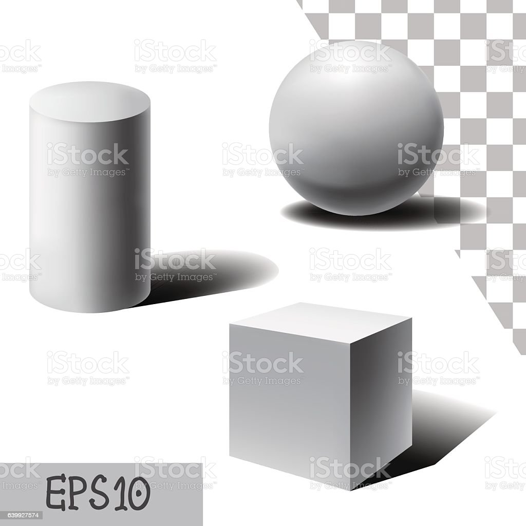 Vector white 3D sphere, cube and cylinder with shadows. vector art illustration