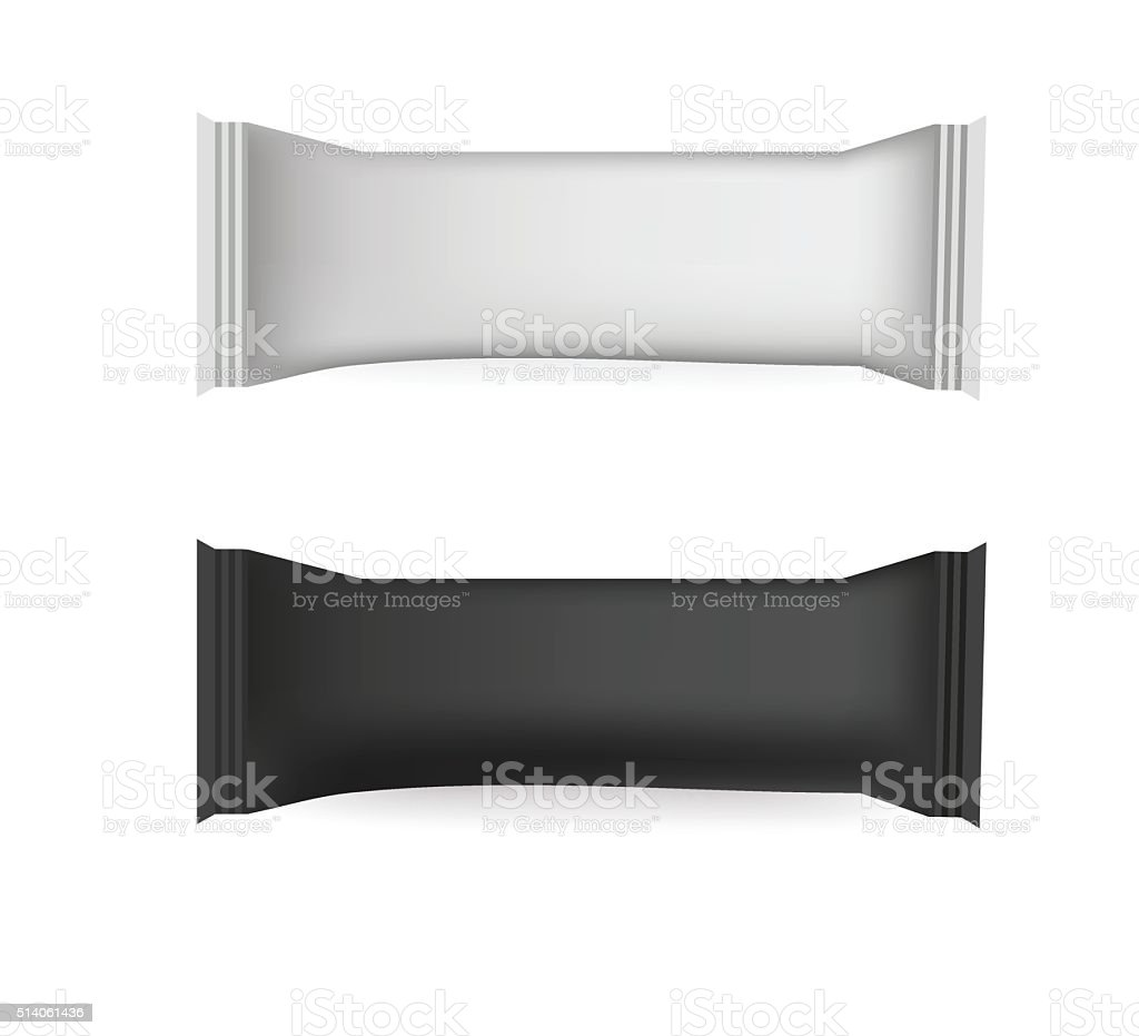 Vector White and Black Blank Food Packaging  Design Template vector art illustration