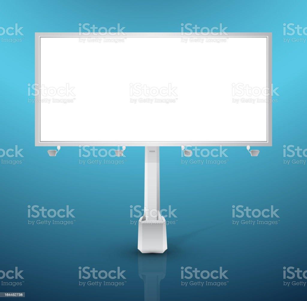 Vector white billboard on blue royalty-free stock vector art