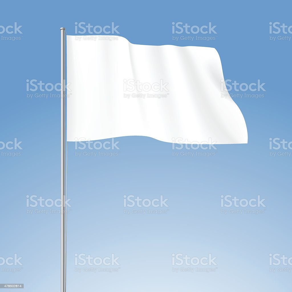 Vector White Blank Flag Isolated on Background vector art illustration