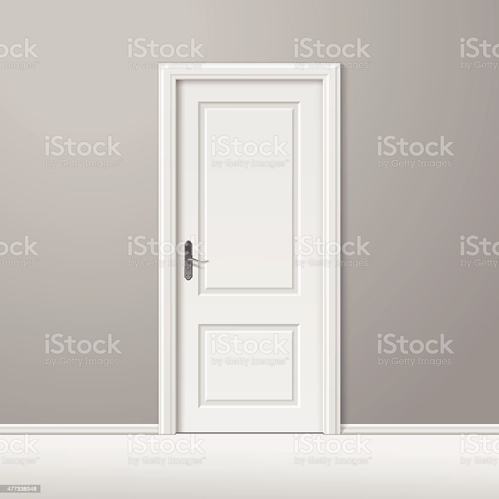 Vector White Closed Door with Frame Isolated on Background vector art illustration