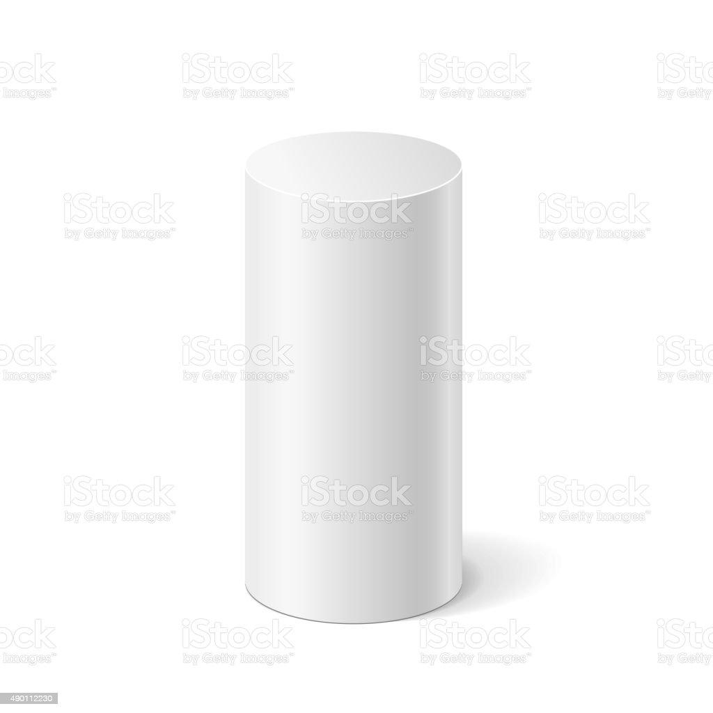 Vector white cylinder vector art illustration