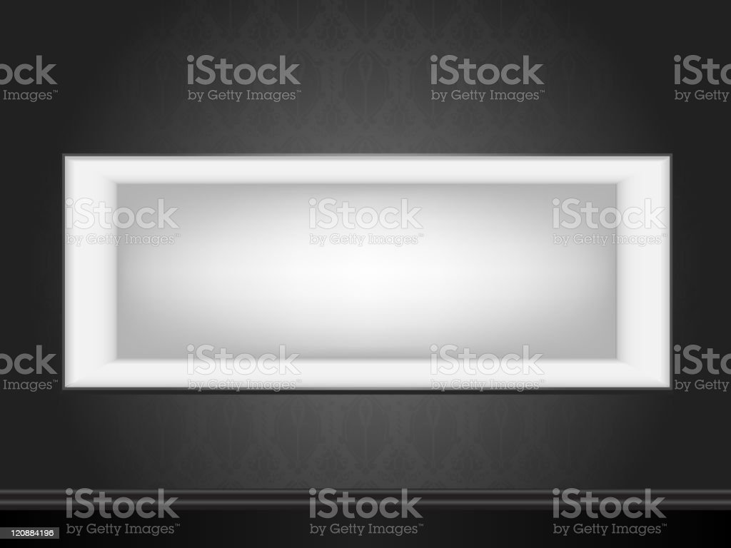 Vector - White frame on wall with seamless black wallpaper royalty-free stock vector art