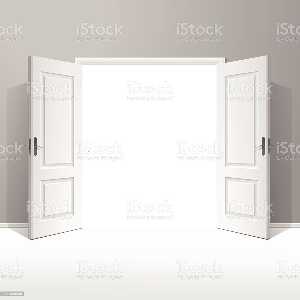 Vector White Open Door with Frame Isolated on Background vector art illustration