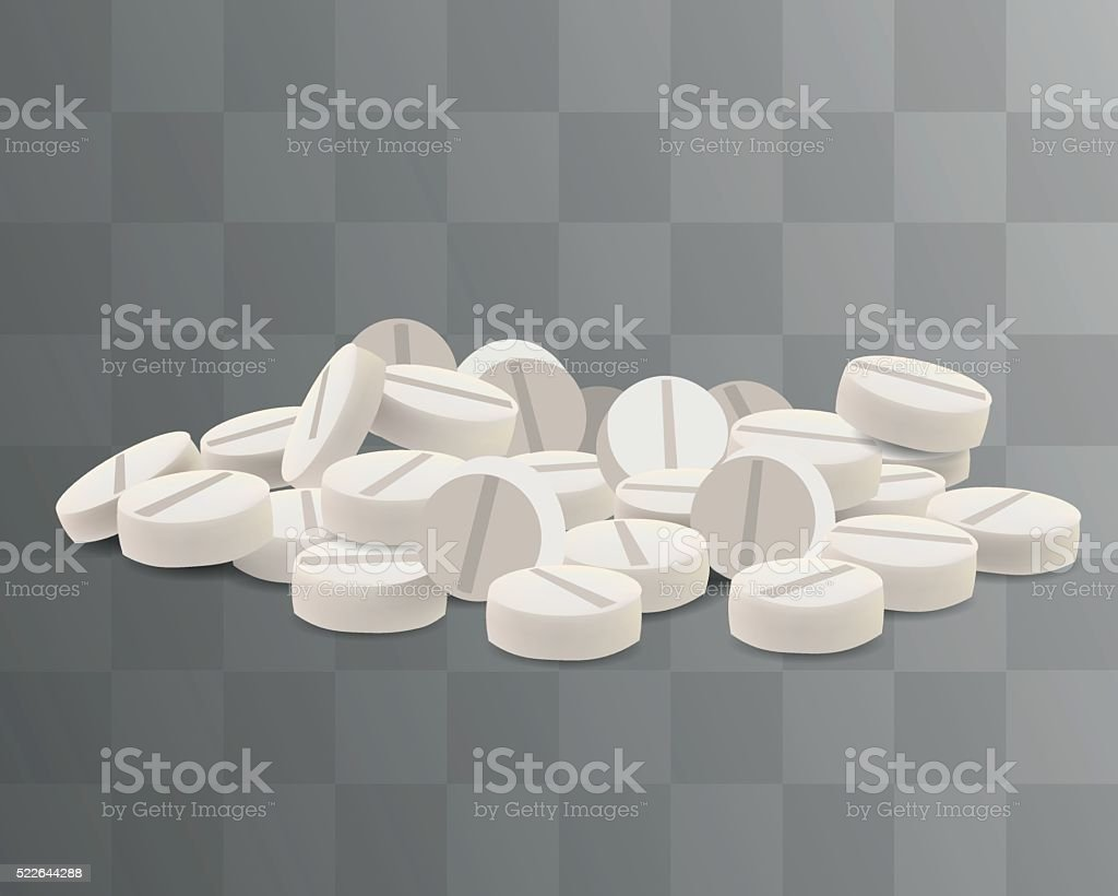 Vector White Pills. Isolated on Transparent Background. vector art illustration