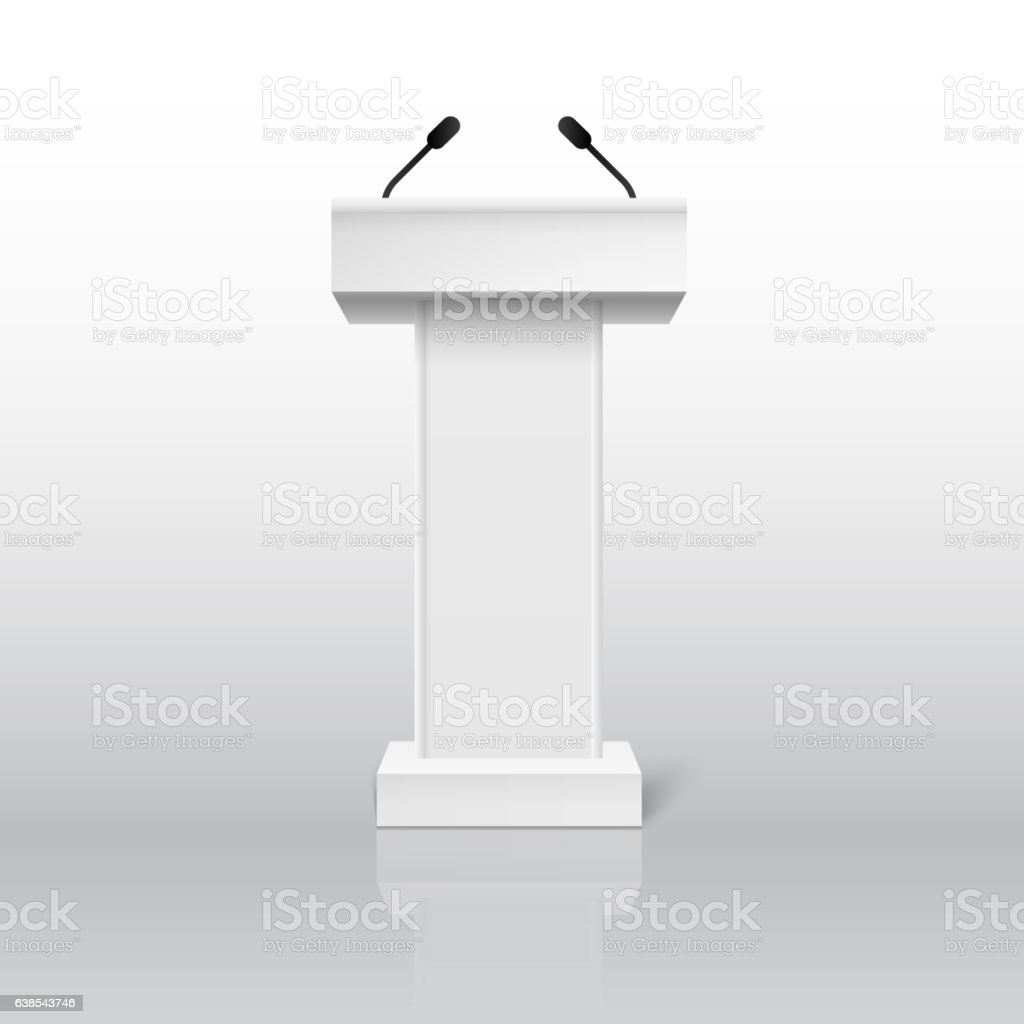 Vector White Podium Tribune Rostrum Stand with Microphones Isolated vector art illustration